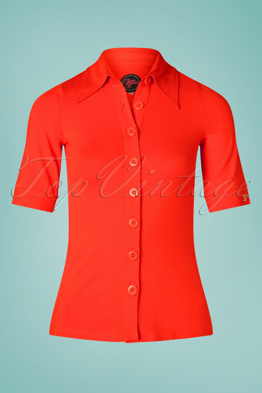 60s Shirts, T-shirt, Blouses | 70s Shirts, Tops, Vests 60s Glenda Button Shirt in Orange �52.82 AT vintagedancer.com