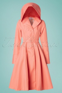 Miss Candyfloss 28660 Trenchcoat in Coral Pink 20190313 008W