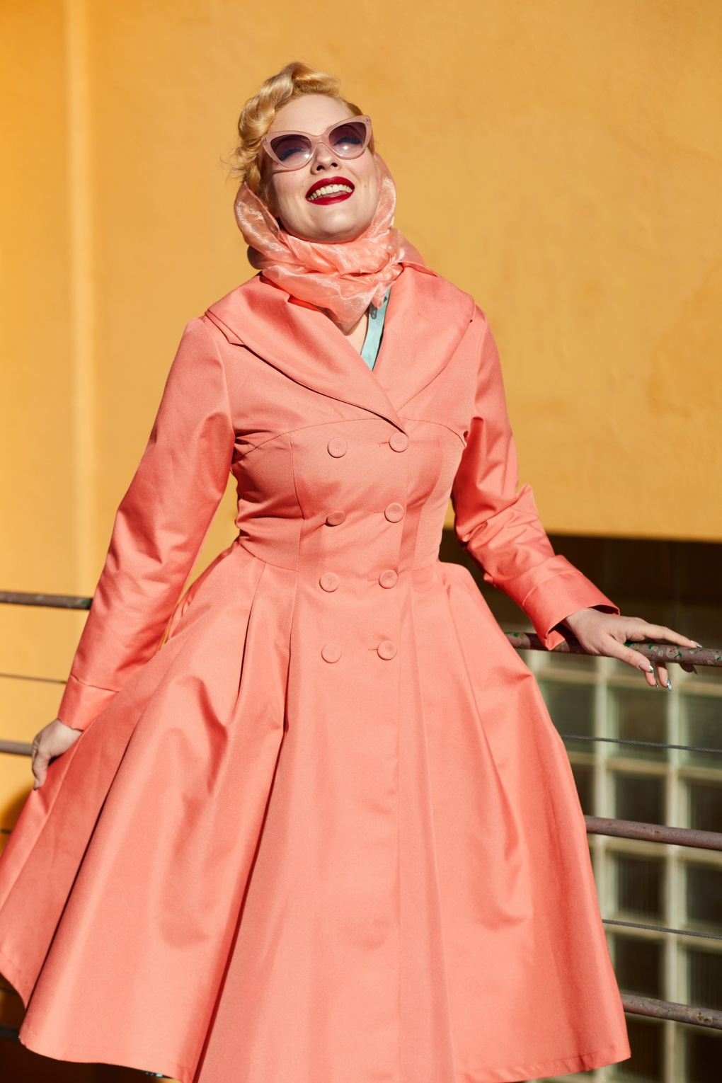 1950s Jackets, Coats, Bolero | Swing, Pin Up, Rockabilly 50s Cleobella Swing Trench Coat in Coral Pink �128.08 AT vintagedancer.com