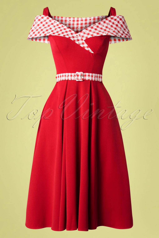 50s Gillantar Rose Daisy Swing Dress in Red