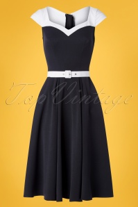 Miss Candyfloss 50s Merryweather Swing Dress in Navy and White