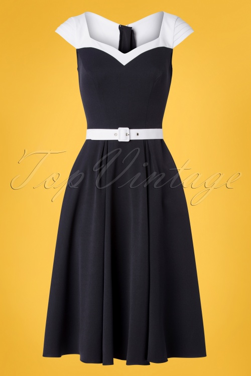 Miss Candyfloss 28689 Navy and White Swing Dress 20190313 001W
