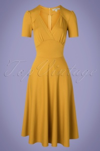 Very Cherry 40s Vivienne Hollywood Circle Dress in Mustard