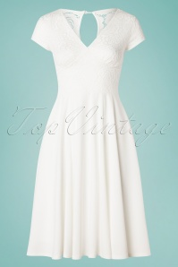 Vintage Chic for TopVintage 50s Kathrin Rose Lace Swing Dress in Ivory