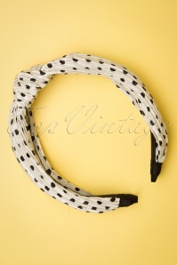 Banned Retro 50s Wanita Polka Dot Hairband in White