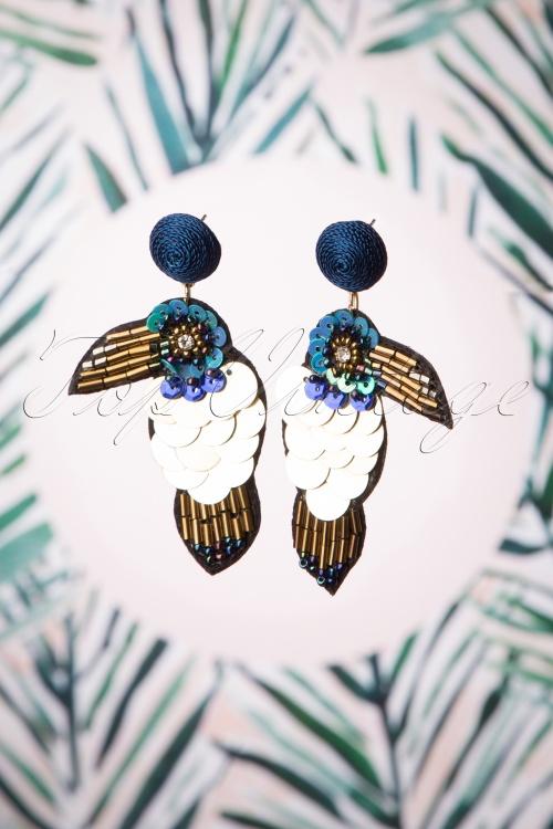 Darling Divine 28993 Earrings Oorbellen Toekan BLue Gold Bird Tiki Tropical 20190313 017 W