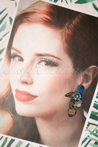 Darling Divine 28993 Earrings Oorbellen Toekan BLue Gold Bird Tiki Tropical 20190313 001 W