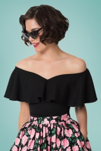 Unique Vintage 50s Frenchie Off Shoulder Ruffle Top in Black