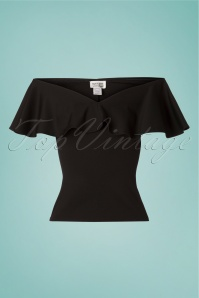 Unique Vintage 27691 Frenchie Offshoulder Black Top 20190312 002w