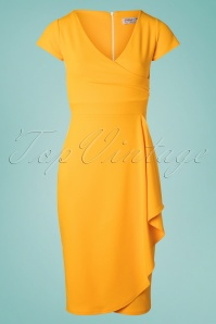 50s Crystal Pencil Dress in Honey Yellow