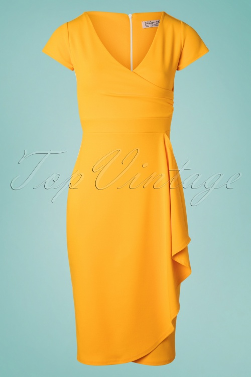 Vintage Chic 28751 50s Crystal Honey Yellow Pencil Dress 20190312 004w