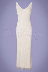 GatsbyLady 20s Sophie Sequin Maxi Dress in White