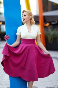 50s Verna Bows Swing Skirt in Magenta