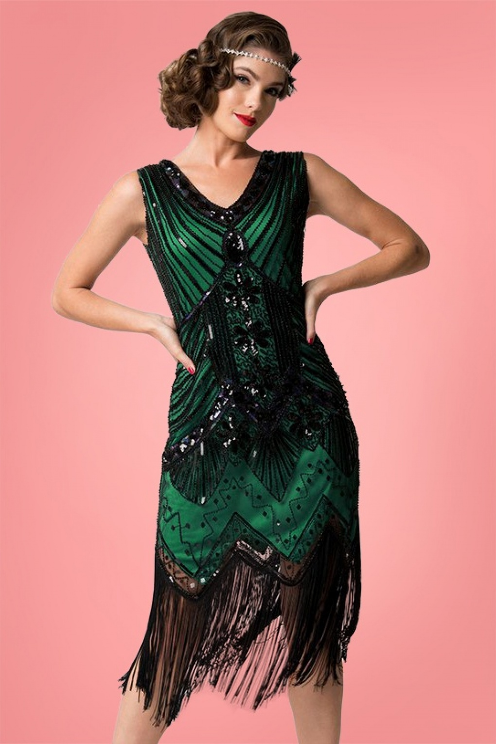 1920s Evening Dresses & Formal Gowns 20s Veronique Fringe Flapper Dress in Metallic Green �112.08 AT vintagedancer.com