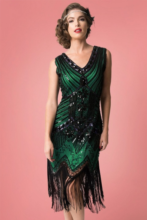 4ffd2e3d042b3b Unique Vintage 29947 20s Veronique Green Flapper Dress 20190314 007