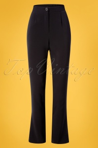 Mademoiselle YéYé 60s Best Black Basic Buxe Trousers in Black