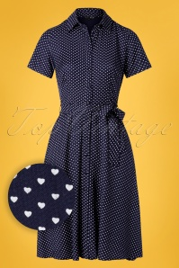 Pretty Vacant 60s Debbie Hearts Dress in Navy