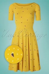 Blutsgeschwister 60s Roswitas Dolcevita Dress in Fly Over Alpine