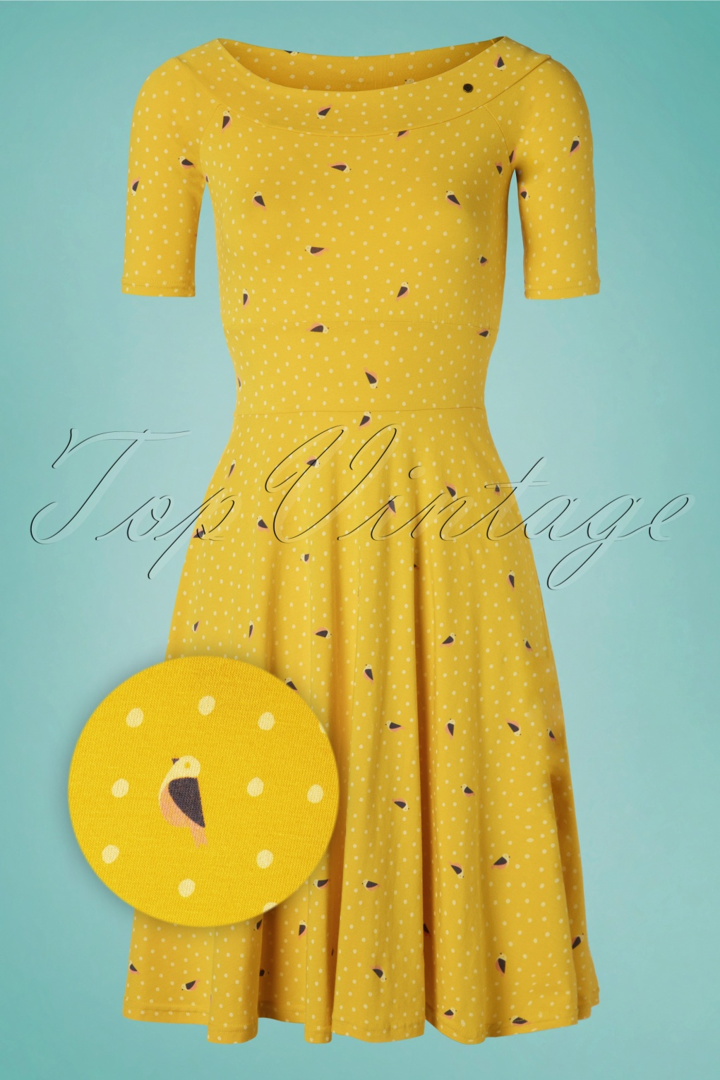 60s Roswitas Dolcevita Dress in Fly Over Alpine