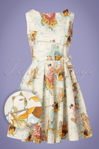 Victory Parade TopVintage Exclusive ~ Sissy Chinese Cat Dress Années 50 en Crème