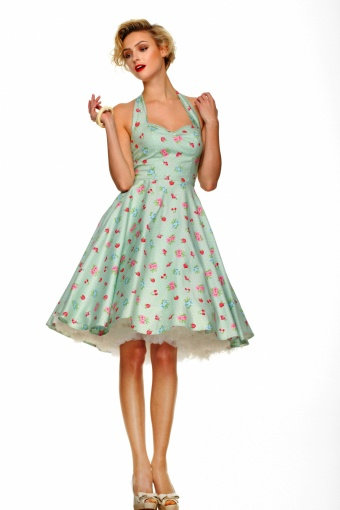 Retro Kleding.50s Retro Halter 50s Bobbilee Dress Mint Green Summerfruit