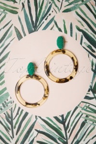60s Jenna Hoop Earrings in Green and Brown