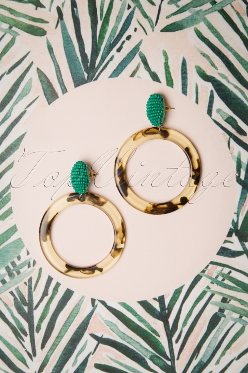 Darling Divine 28985 Earrings Oorbellen Shell Green Hoops 20190313 004 W