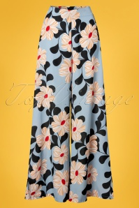 Wild Pony 70s Emanuel Floral Trousers in Light Blue