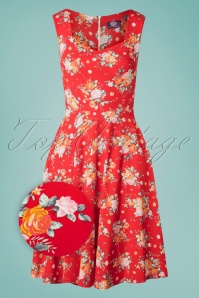 TopVintage Boutique Collection 50s The Frances Floral Dress in Red
