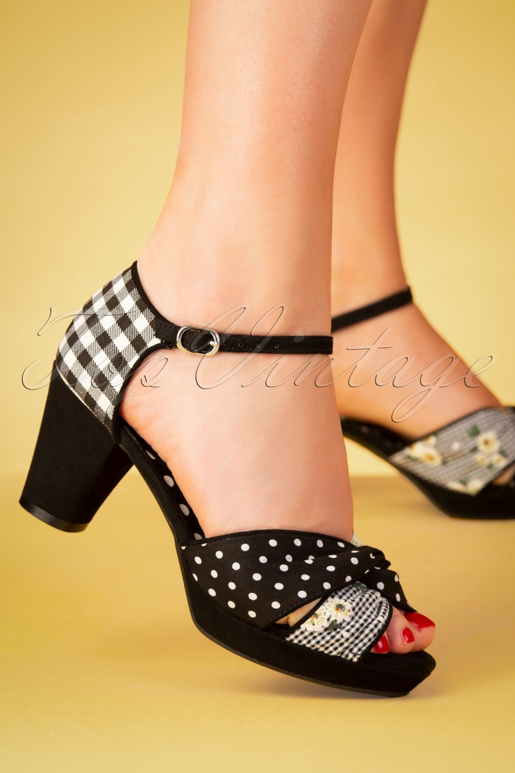 Pin Up Shoes- Heels, Pumps & Flats 60s Xanthe Peeptoe Pumps in Black �63.44 AT vintagedancer.com
