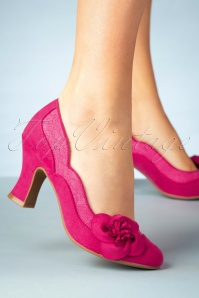 40s Veronica Pumps in Fuchsia