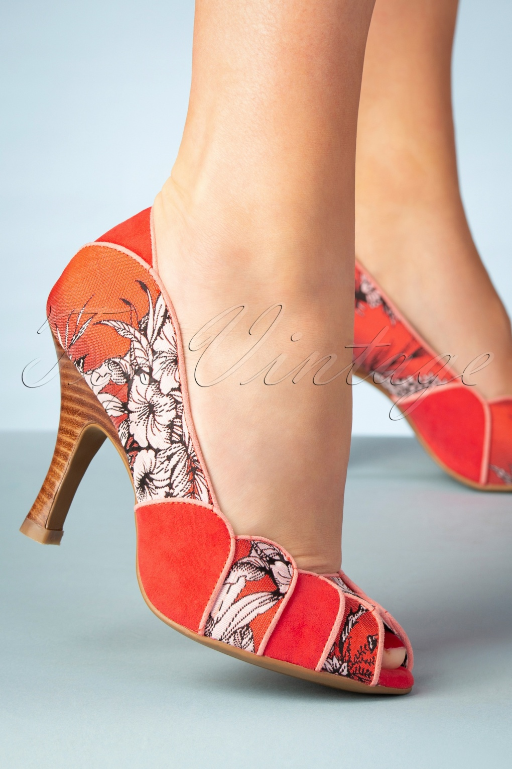Pin Up Shoes- Heels, Pumps & Flats 50s Matilda Peeptoe Pumps in Burnt Orange �68.59 AT vintagedancer.com
