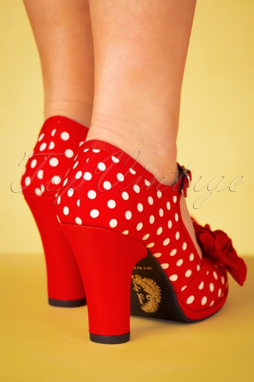 Ruby Shoo Hannah Red White Spot Ladies Heel Mary Jane Buckle Strap Court Shoe