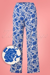 Wild Pony 70s Donatella Floral Trousers in Cream and Blue