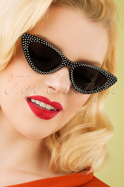 Retro Sunglasses | Vintage Glasses | New Vintage Eyeglasses 50 Lucille Cateye Sunglasses in Black £12.91 AT vintagedancer.com