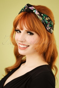 50s Floral Turban Headband in Black