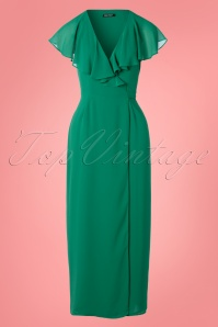 70s Elsa Dress in Emerald Green