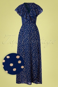 70s Gina Polka Dot Maxi Dress in Blue
