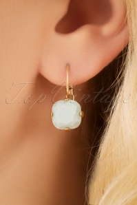 70s Heather Stone Earrings in Mint