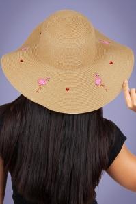 Vixen 27889 Hat Beach Sunhat 50s Flamingo Pink Beige Straw 20170704 005