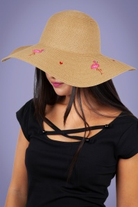 50s Flamingo Floppy Sun Hat in Beige