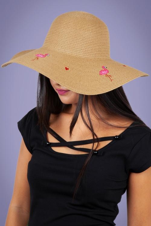 Vixen 27889 Hat Beach Sunhat 50s Flamingo Pink Beige Straw 20170704 003