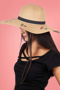 Vixen 27890 Hat Beach Sunhat 50s Cherry Beige Straw 20170704 004