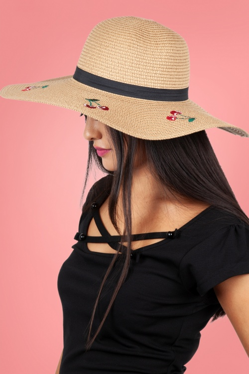 Vixen 27890 Hat Beach Sunhat 50s Cherry Beige Straw 20170704 004