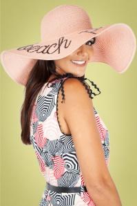 Vixen 27891 Hat Beach Sunhat 50s Roze Straw 20180905 003