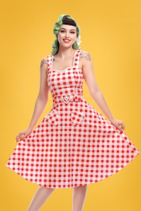 Collectif Clothing Lottie Vintage Gingham Top in Red 22810 20171122 0008