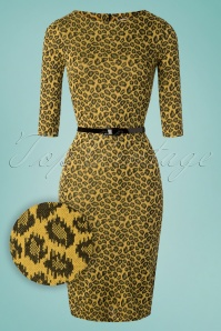 Therrie Leopard Pencil Dress Années 50 en Jaune Moutarde