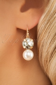 50s Vivienne Pearl and Crystal Earrings in Gold