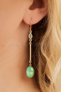Christine Opal Drop Earrings Années 70 en Vert d'Eau