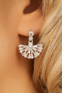 Evelyn Mini Crystal Fan Drop Earrings Années 20 en Argenté